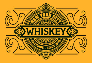 Western design. Whiskey label.