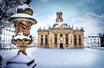 Saarbrücken - Ludwigskirche im Winter mit Schnee