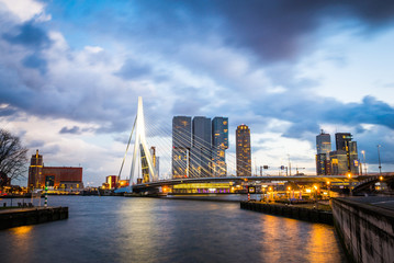Rotterdam city after sunset, dramatic sky. Holland, Western Europe