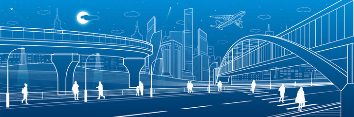 Pedestrian bridge across the highway. Road overpass. Urban infrastructure, modern city on background, industrial architecture. People walking. White lines illustration, night scene, vector design art