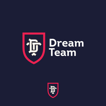 Dream team logo. Sport or business team emblem. D letter and T letter in the red shield.