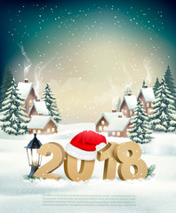 New Year Holiday background with 2018 and Santa Hat. Vector.