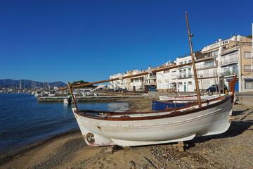 Spain traditional fishing boat on the beach, Mediterranean village El Port de la Selva, Catalonia, Costa Brava, Alt Emporda