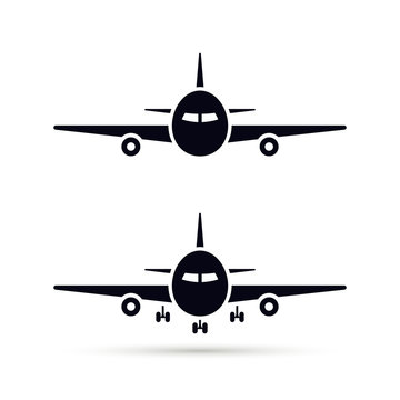 Plane Icon set in flat style, Vector airplane simple black silhouette on white background