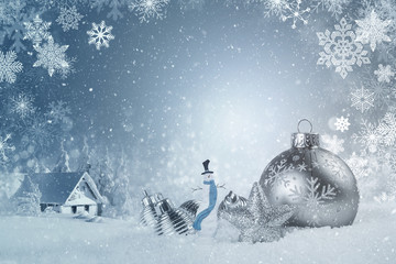 White Christmas scene with silver ornaments