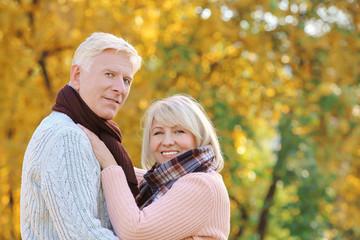 Cute elderly couple in autumn park
