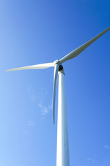 Wind turbines generating electricity with blue sky
