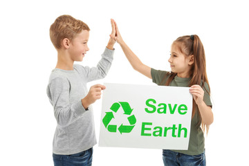 Little children holding poster on white background. Save Earth concept
