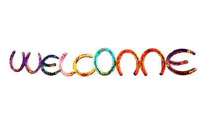 Welcome in Colorful Horseshoes