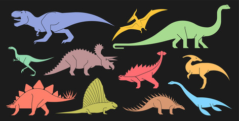Vector set of geometrically stylized dinosaur icons. Different types of prehistoric dinosaur icons: trex, tyrannosaurus, triceratops,  brontosaurus, diplodocus, pterodactyl.
