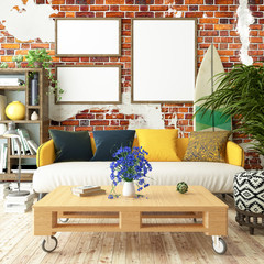 cozy interior poster mock up with old brick wall