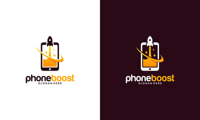 Modern Phone Booster logo with rocket symbol, Elegant Fast Phone logo template vector