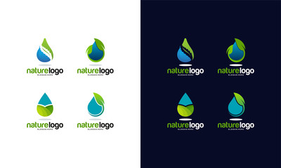 Set of Nature Water logo template, Modern Pure Water logo collection designs vector