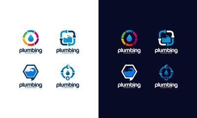 Set of Plumb Service logo designs Template with water symbol, Plumbing logo designs vector