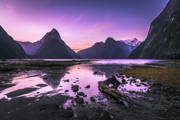 Sunset at Milford Sound, Fiordland, New Zealand