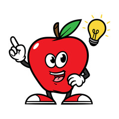 Cartoon Apple Character With Idea