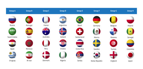 World Cup Flags 2018 Russia. 2018 Gruppen. WM Flags 2018. 2018 Teilnehmer Bälle. All the world football teams competing in tournaments in 2018.