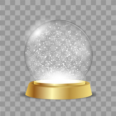 Christmas Globe with falling snow on transparent background. Vector.