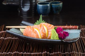 japanese cuisine. sashimi on the background