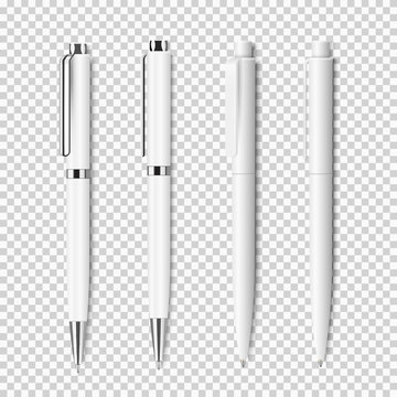Set of white realistic pen on transparent background