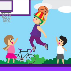 Boy Play Basketball character design cartoon art basketball court Background illustration