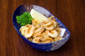 fried shrimp on the background
