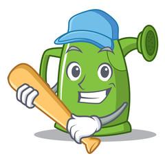 Playing baseball watering can character cartoon