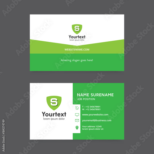 Vector modern creative and clean business card template flat simple vector modern creative and clean business card template flat simple design with green color and reheart Gallery