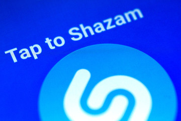 Illustration photo of the Shazam application on a mobile phone
