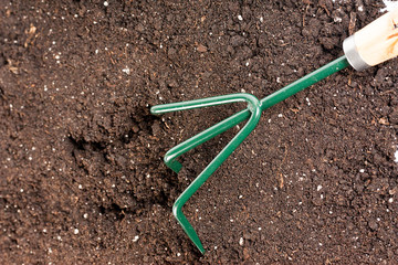 gardening Work Tool fork in black composted