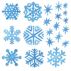 Watercolor snowflakes and stars. Christmas and New Year clip art collection