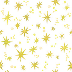 Hand painted watercolor seamless pattern with stars and bokeh