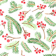 Watercolor Christmas design with branches of holly berries and spruce. Seamless pattern background