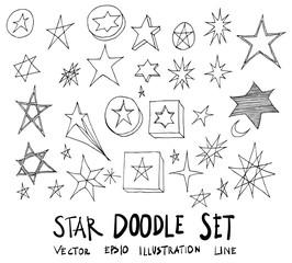 Set of Star illustration Hand drawn doodle Sketch line vector eps10