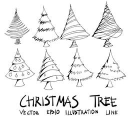 Set of christmas tree illustration Hand drawn doodle Sketch line vector eps10