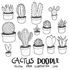 Set of Cactus illustration Hand drawn doodle Sketch line vector eps10