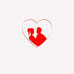 silhouette of a loving couple inside the heart