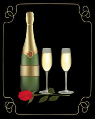 Champagne bottle with two glasses and rose on dark background with golden frame, vector
