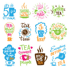 Teatime quote set vector lettering cup of tea vintage print tea time typography poster design teapot five o clock isolated illustration.