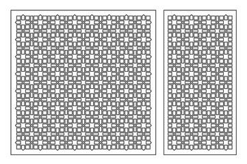 Set decorative elements for laser cutting. Geometric ornament pattern. Pattern quadrate lines. The ratio 1:2, 1:1. Vector illustration.