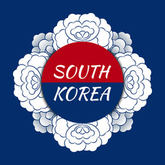 South Korea travel banner vector. Flag red blue design with traditional peony flower pattern frame for souvenir postcards, korean tourism poster or label sticker prints.