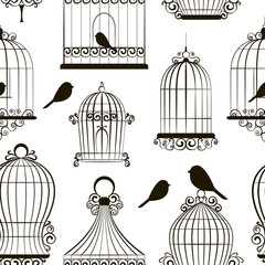 Vintage bird cages pattern
