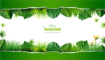 Bright tropical background with jungle plants. Exotic pattern with tropical leaves.