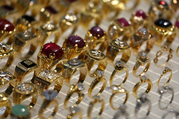 Gold rings are displayed for sale at a gold shop in Hanoi