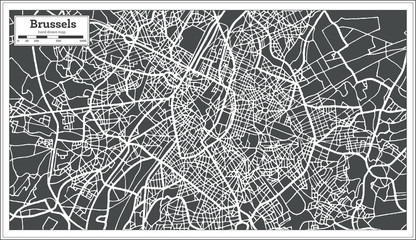 Brussels Belgium Map in Retro Style.