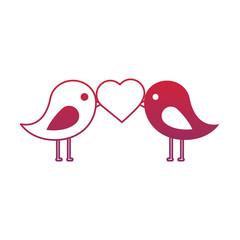 cute couple birds heart in beak valentines day vector illustration