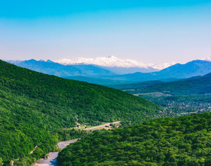 summer mountain landscape and hills in the Caucasus