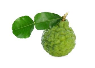 a whole of fresh bergamot fruit with leaf isolated on white background