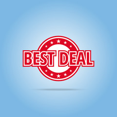Best deal label. Red color, isolated on white.