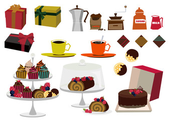 チョコレートとコーヒーの素材集。バレンタインのコレクション。